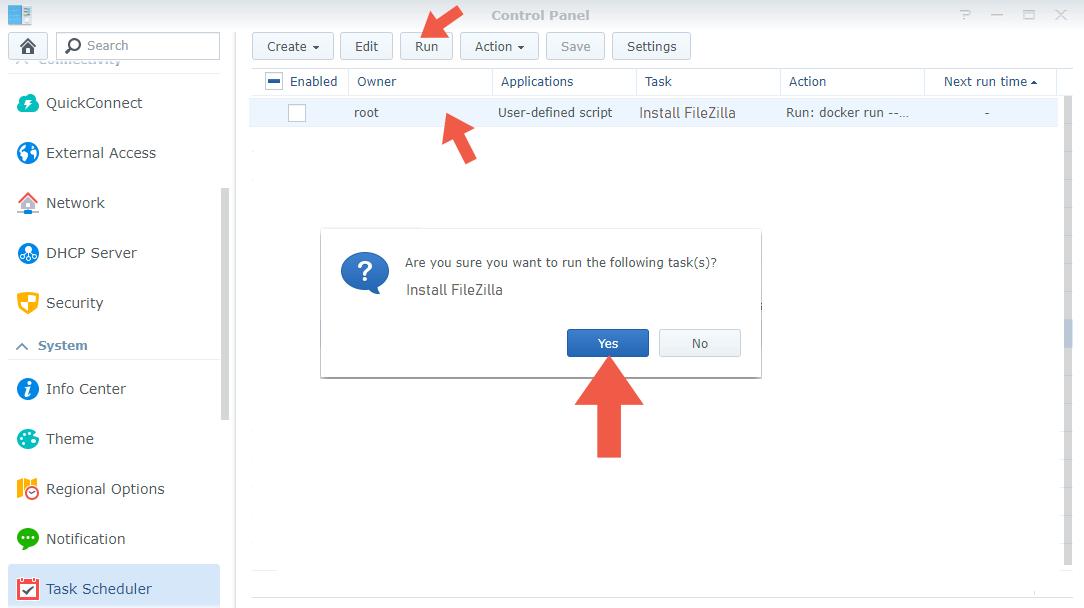 4 Synology Filezilla install docker