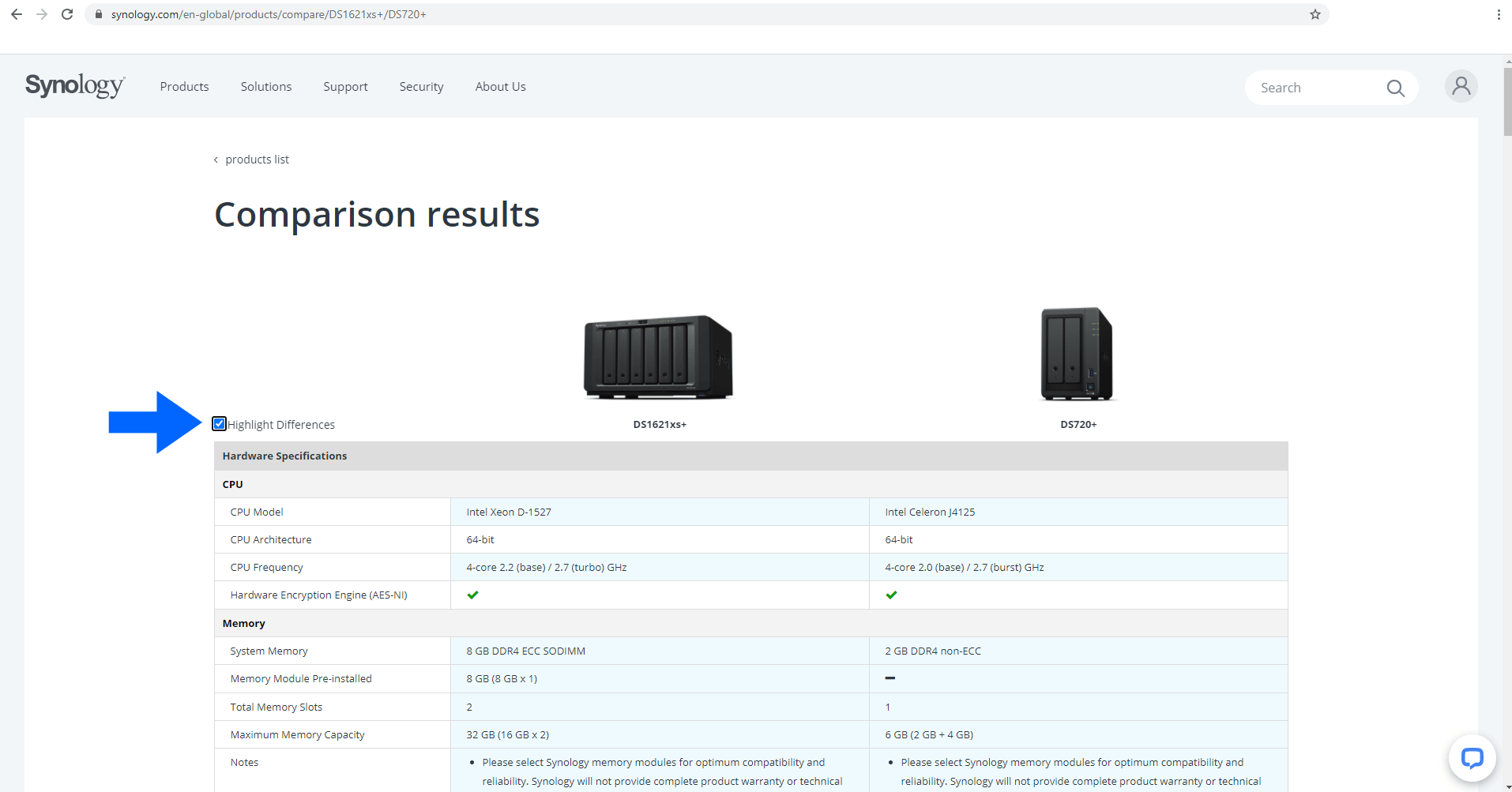 2 Compare Synology NAS products