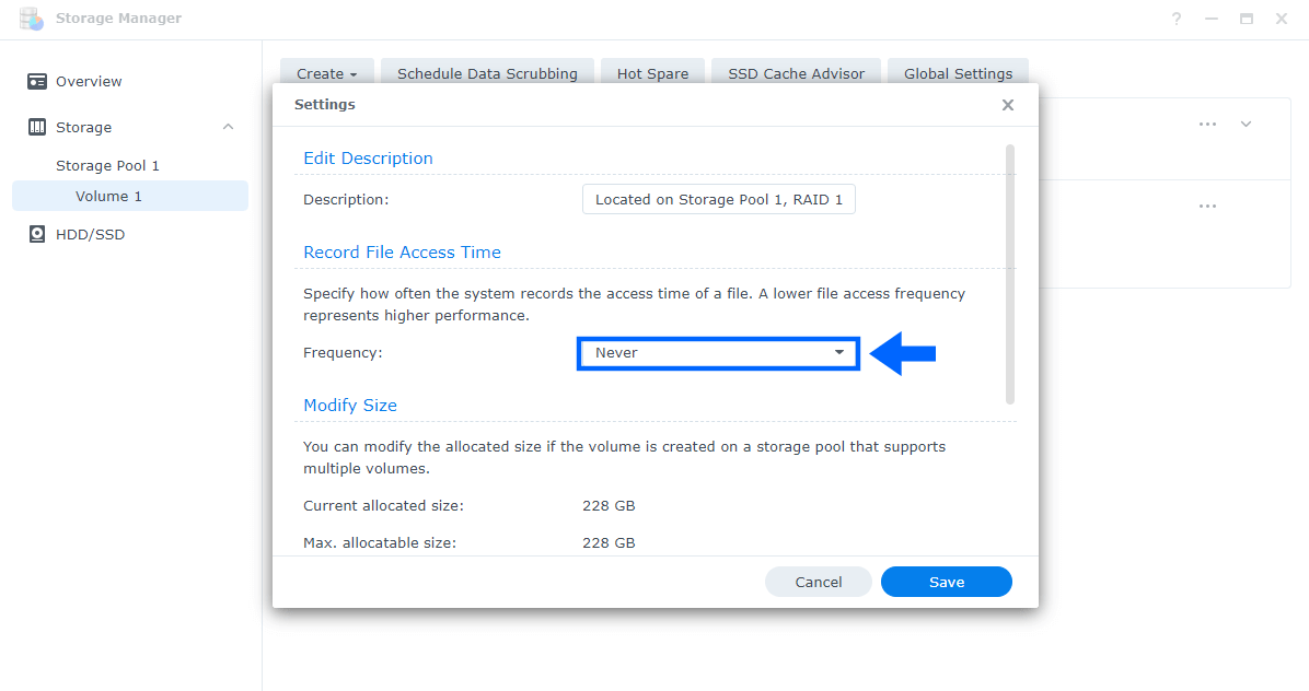 2 Disable Record File Access Time Synology DSM 7