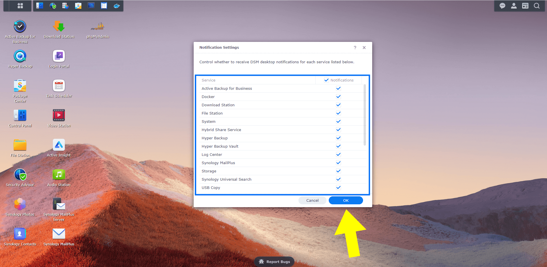 2 Synology Enable or Disable DSM Desktop Notifications