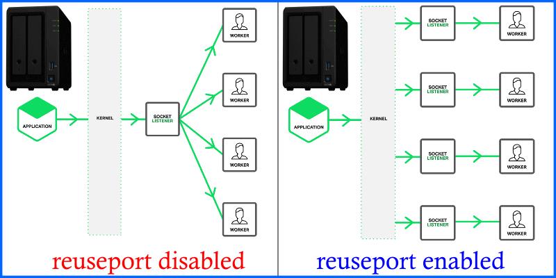 disabled reuseport enabled reuseport Synology DSM 7