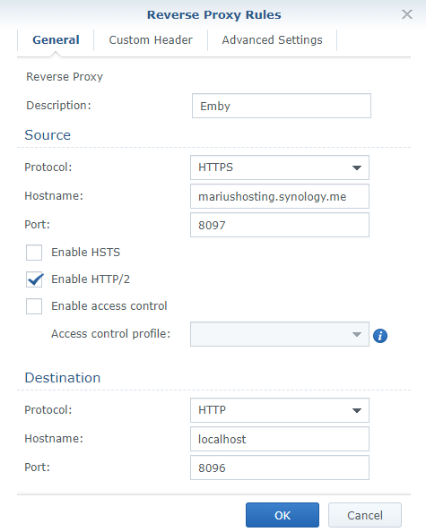 2 Synology Docker allow Emby to work over an https connection