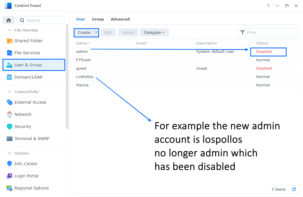 Disable admin account on Synology NAS