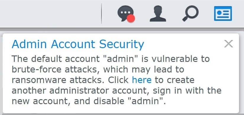Synology Admin Account Security notification