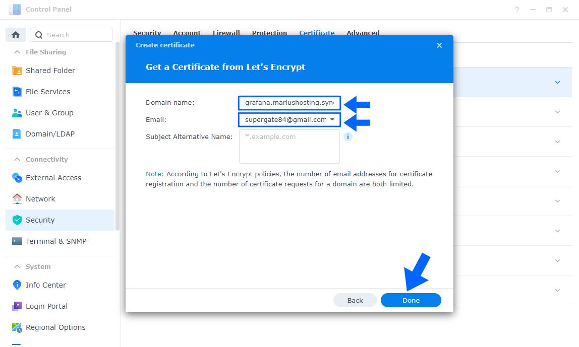 Grafana SSL Certificate set up Synology 4