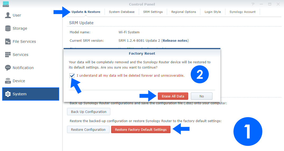 Synology RT2600ac Router Factory reset guide