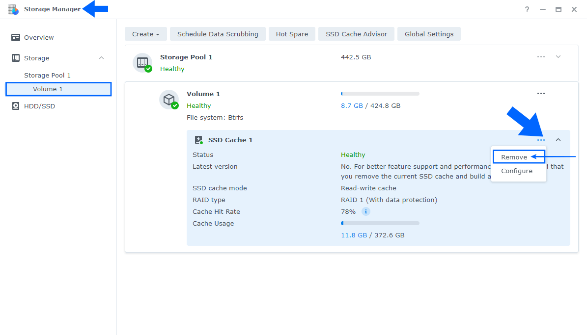 Synology Remove Cache SSD 1