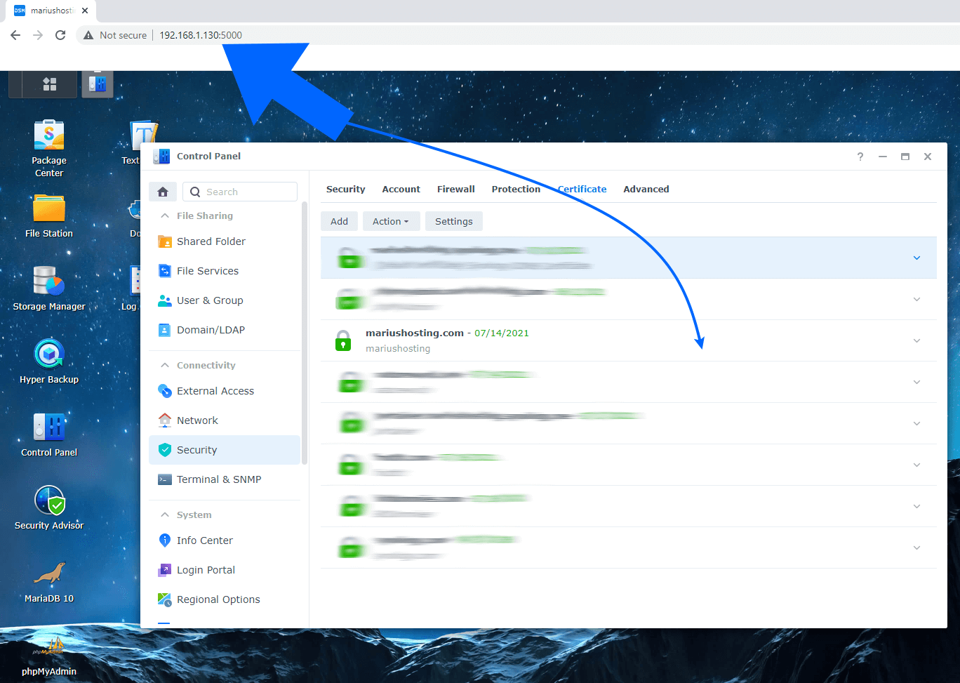 Synology The operation failed. Please Sign in to DSM again and retry. Local Network 1