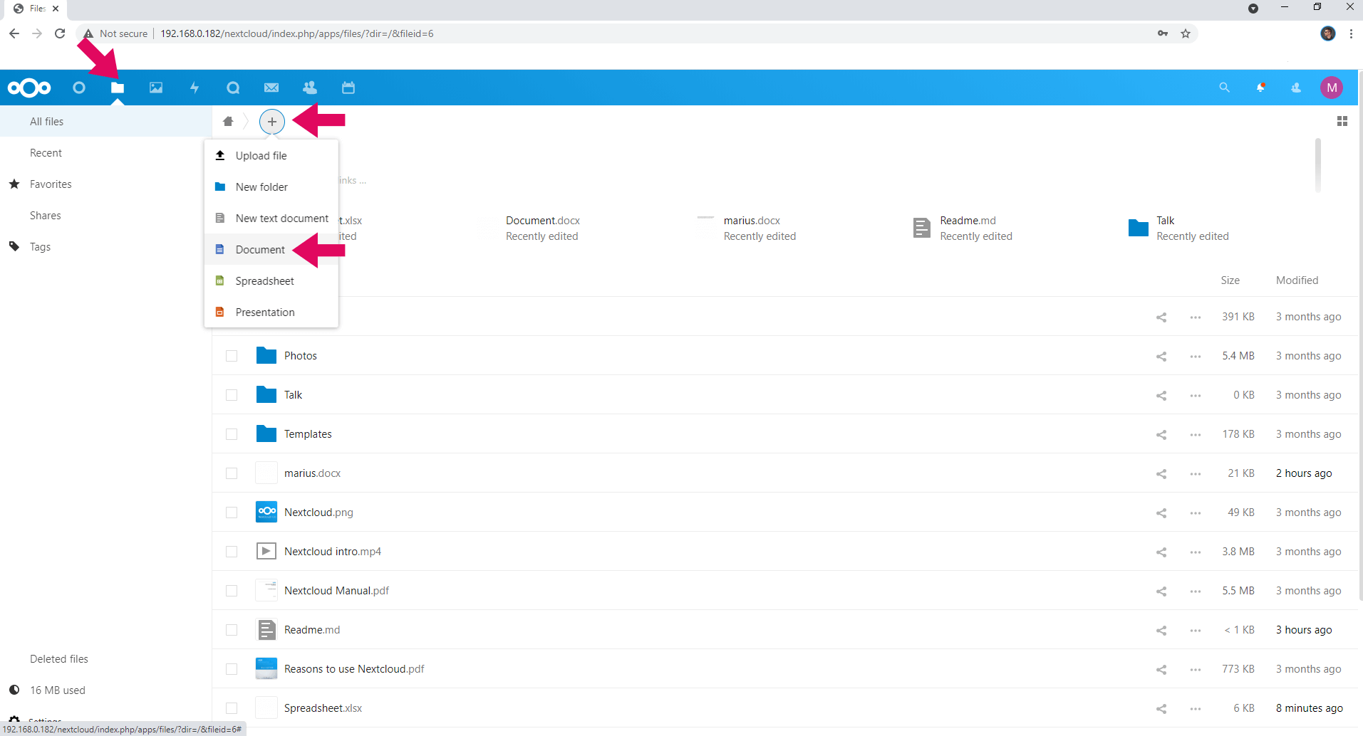 Nextcloud OnlyOffice Synology NAS create new file 1