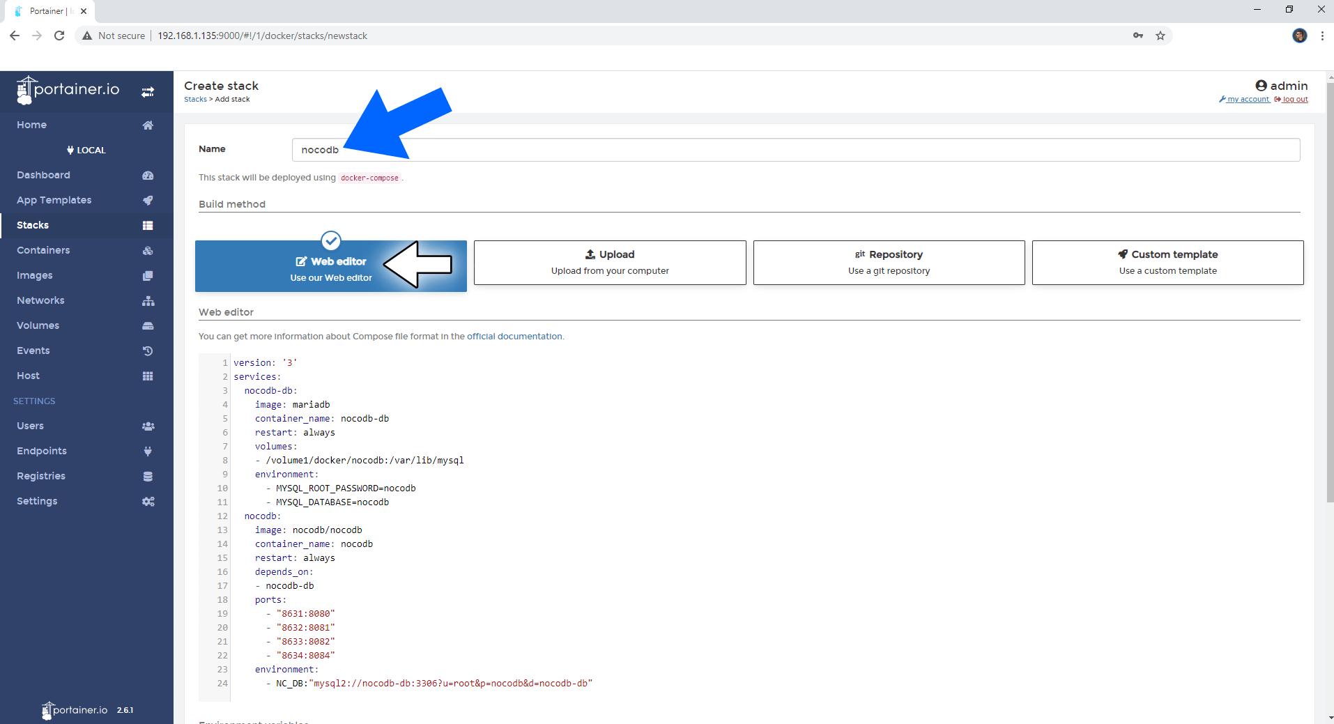 NocoDB Synology NAS Set up 3