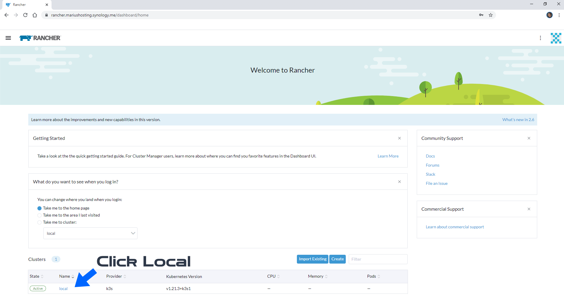 Rancher Synology NAS set up new 3