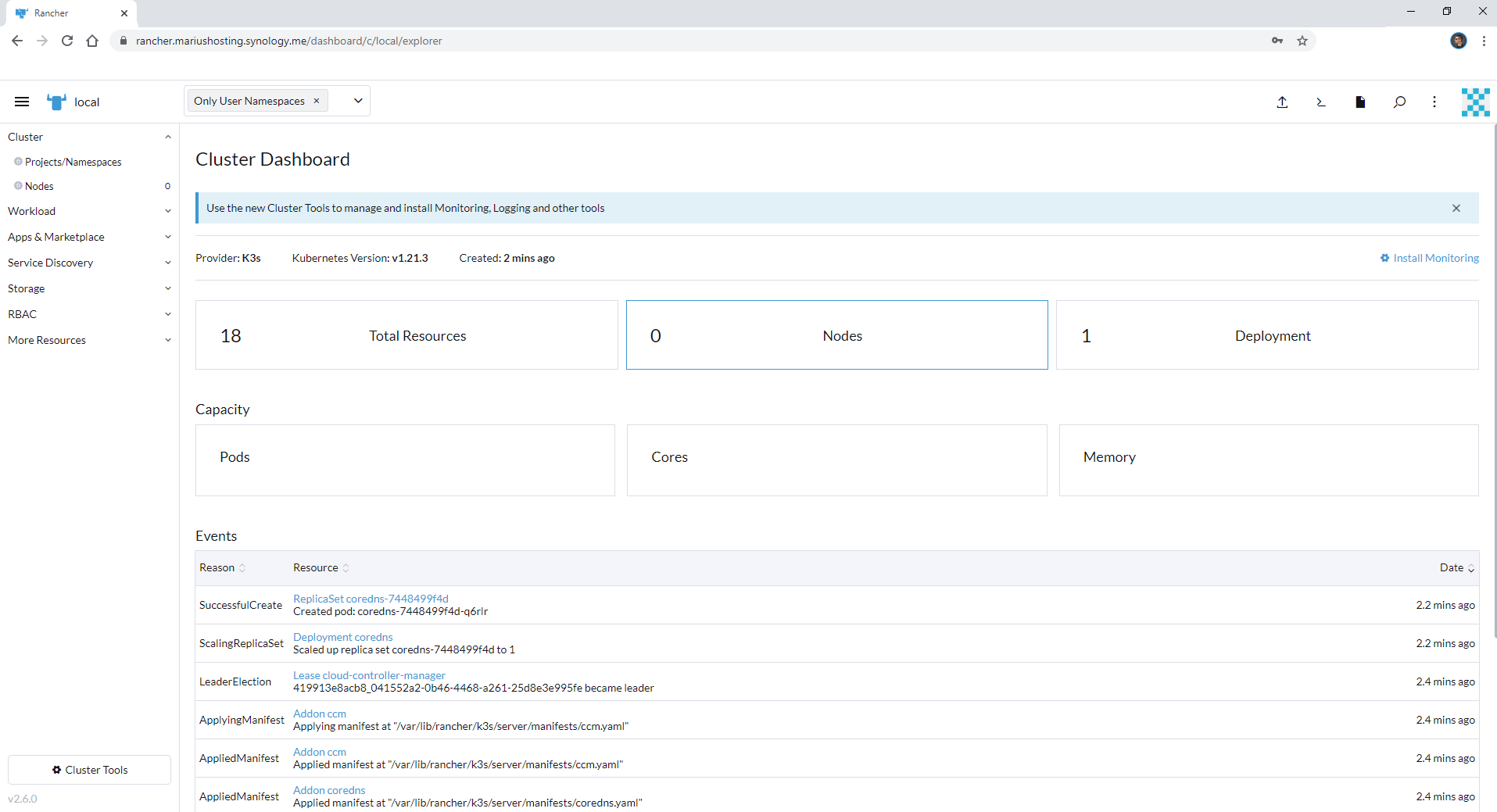 Rancher Synology NAS set up new 4