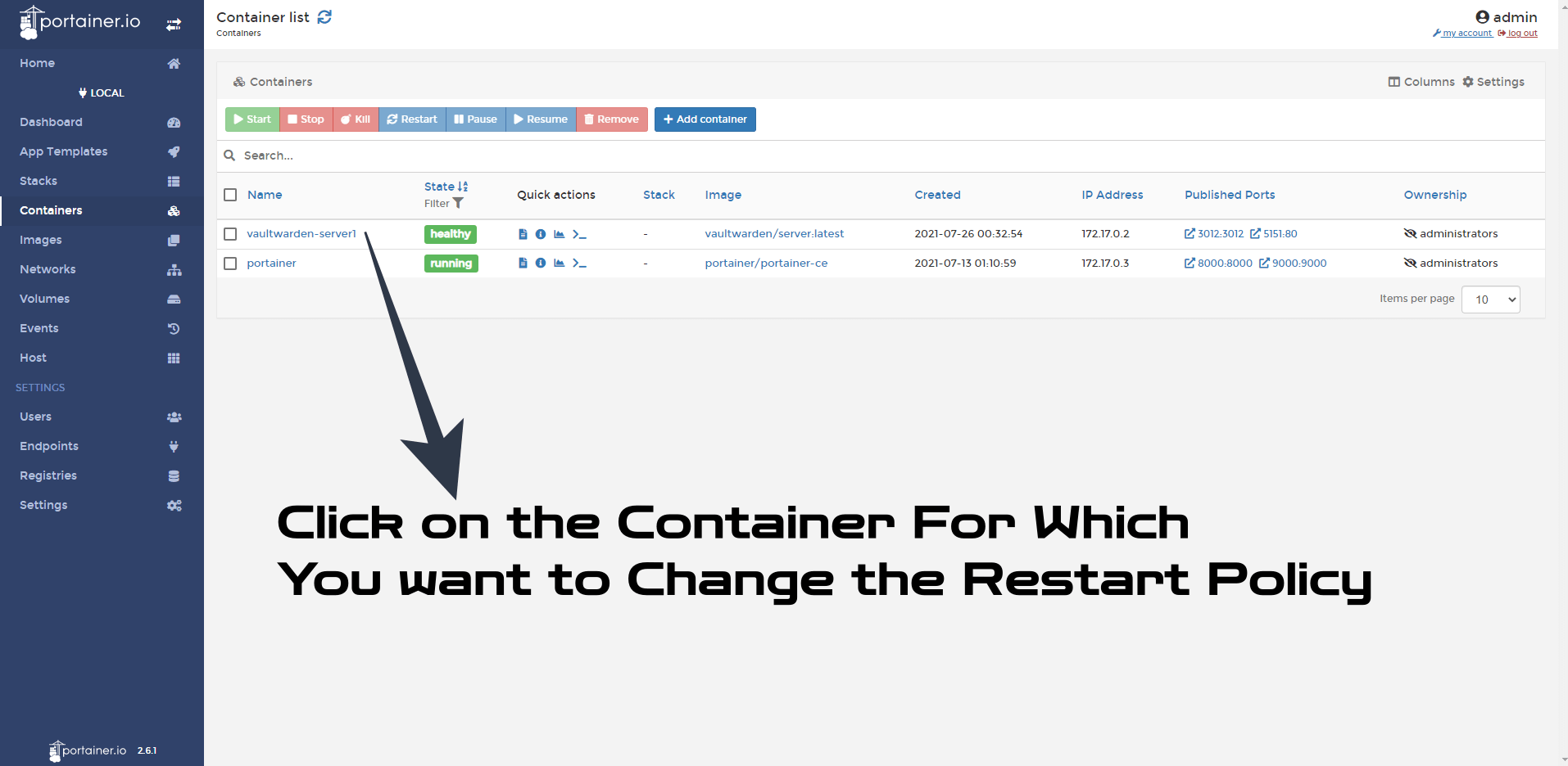 Synology Change Docker Containers Restart Policy 1
