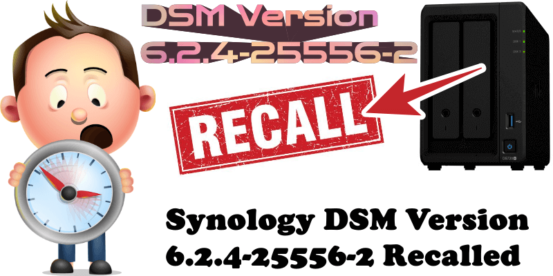 Synology DSM Version 6.2.4-25556-2 Recalled