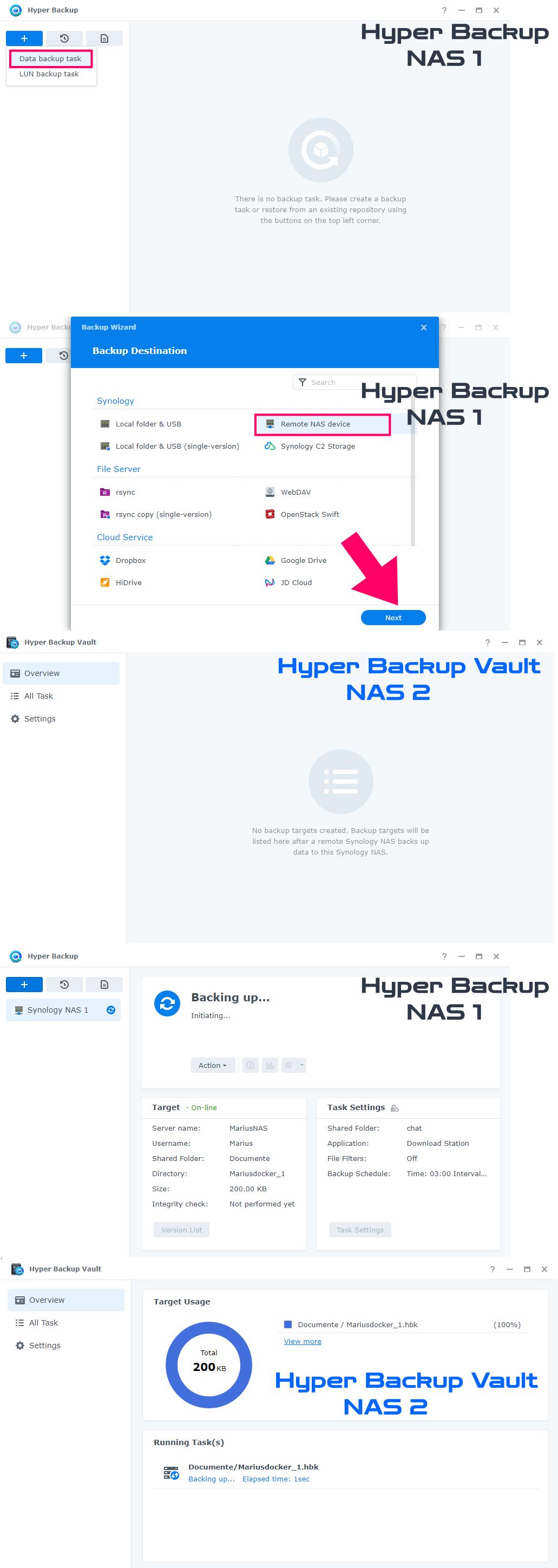 Synology Hyper Backup and Hyper Backup Vault Backup Destination
