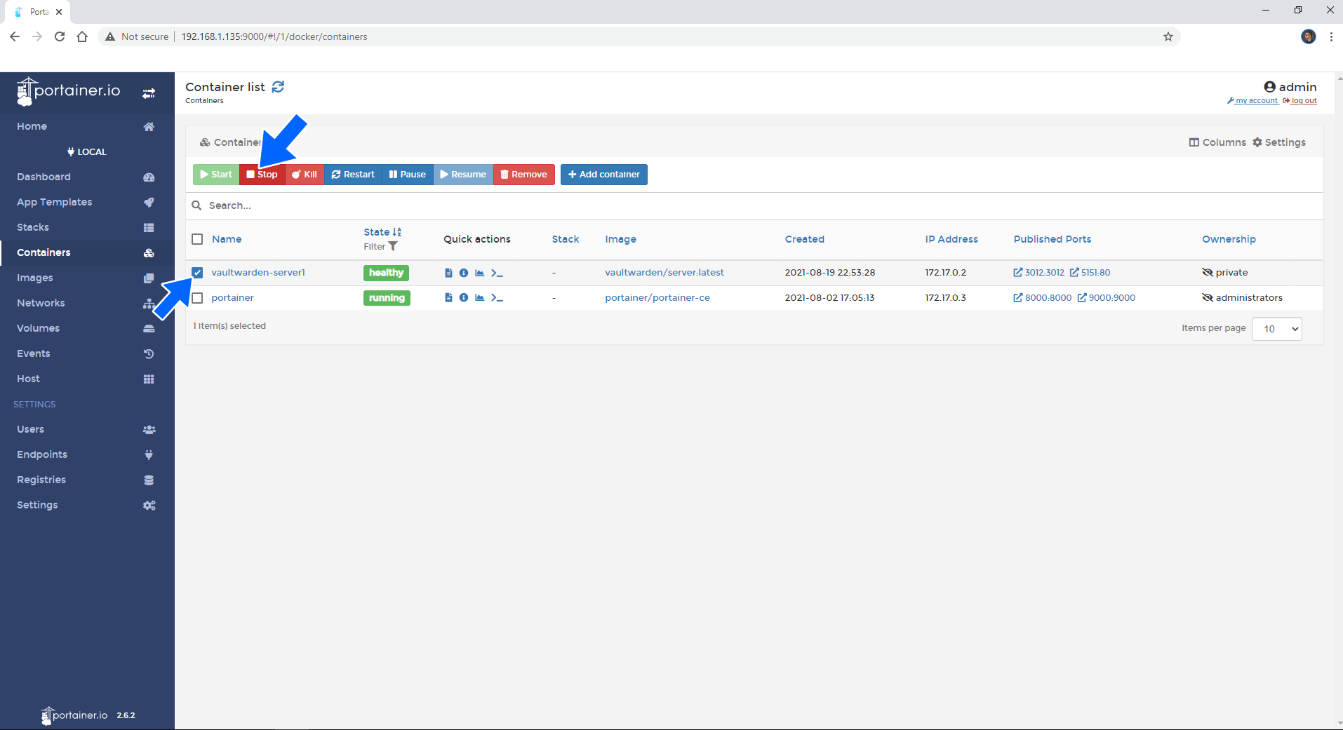 Synology update docker container using Portainer 1