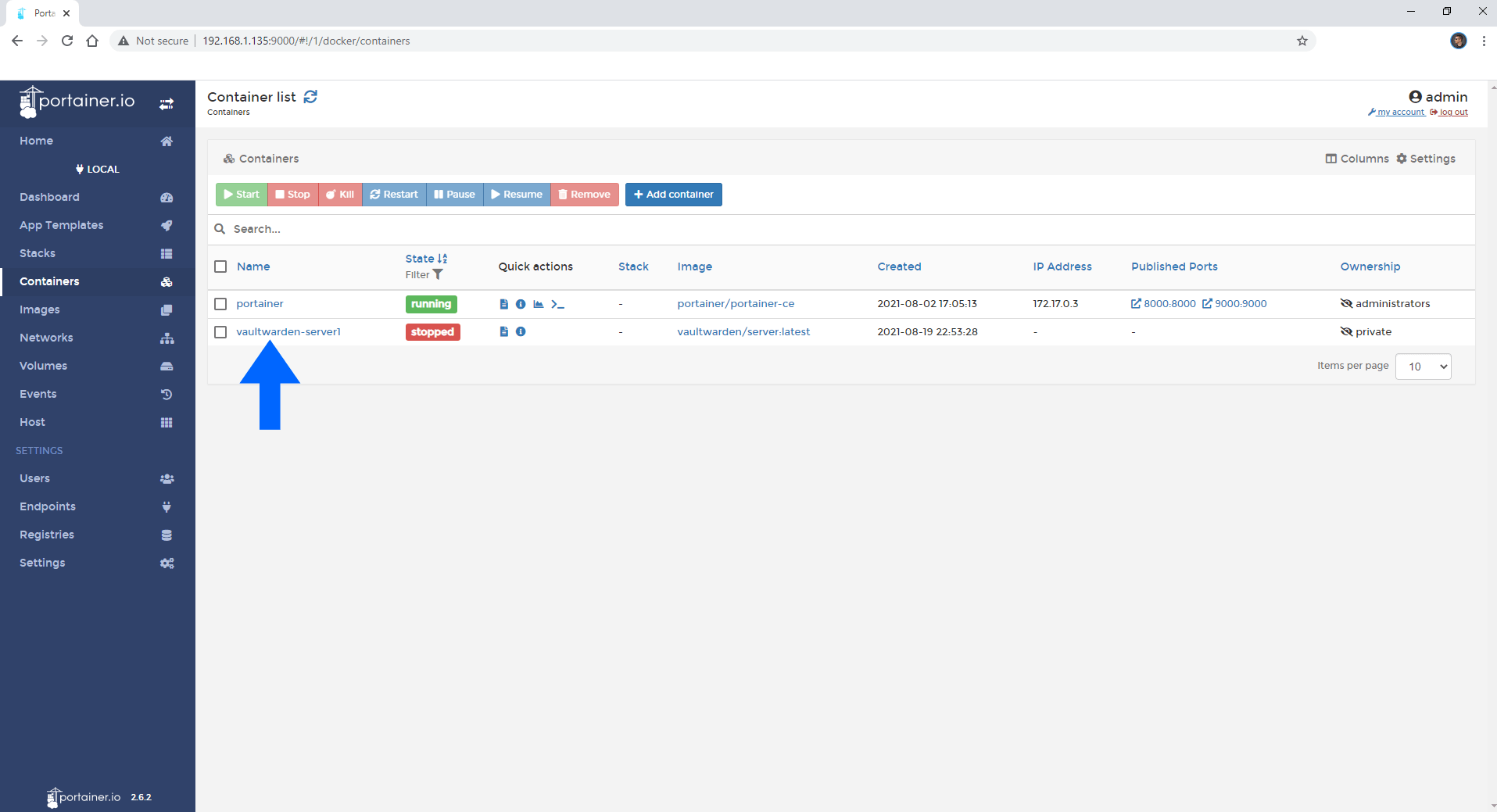 Synology update docker container using Portainer 2