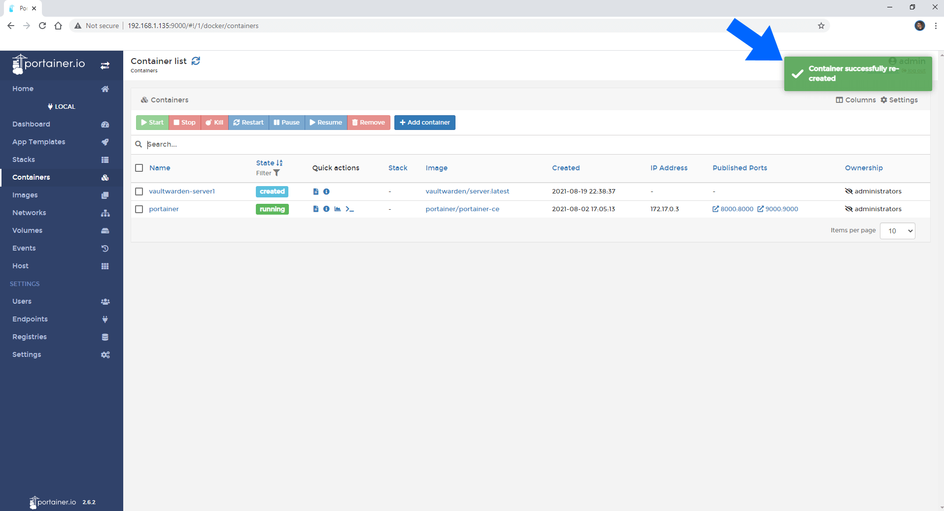 Synology update docker container using Portainer 5