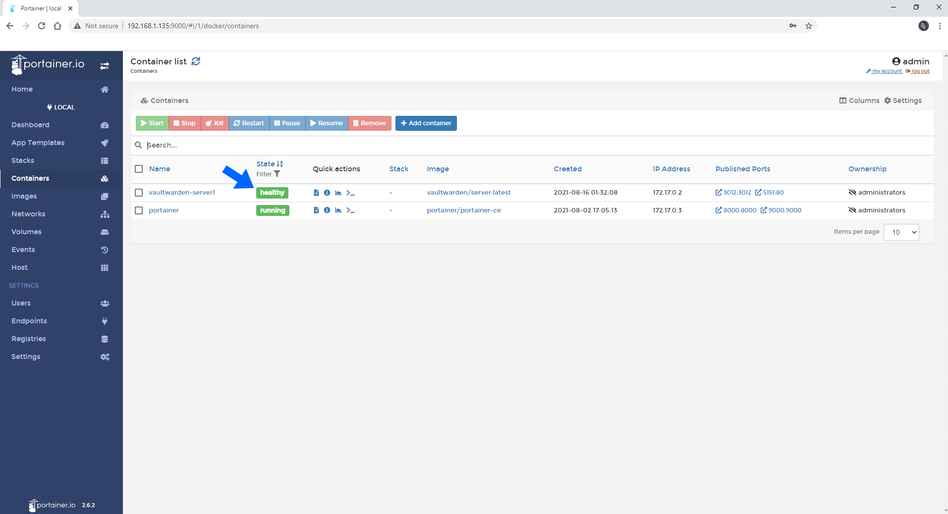 Synology update docker container using Portainer 7