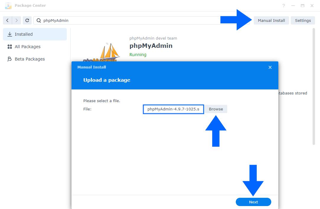 Synology phpMyAdmin Install