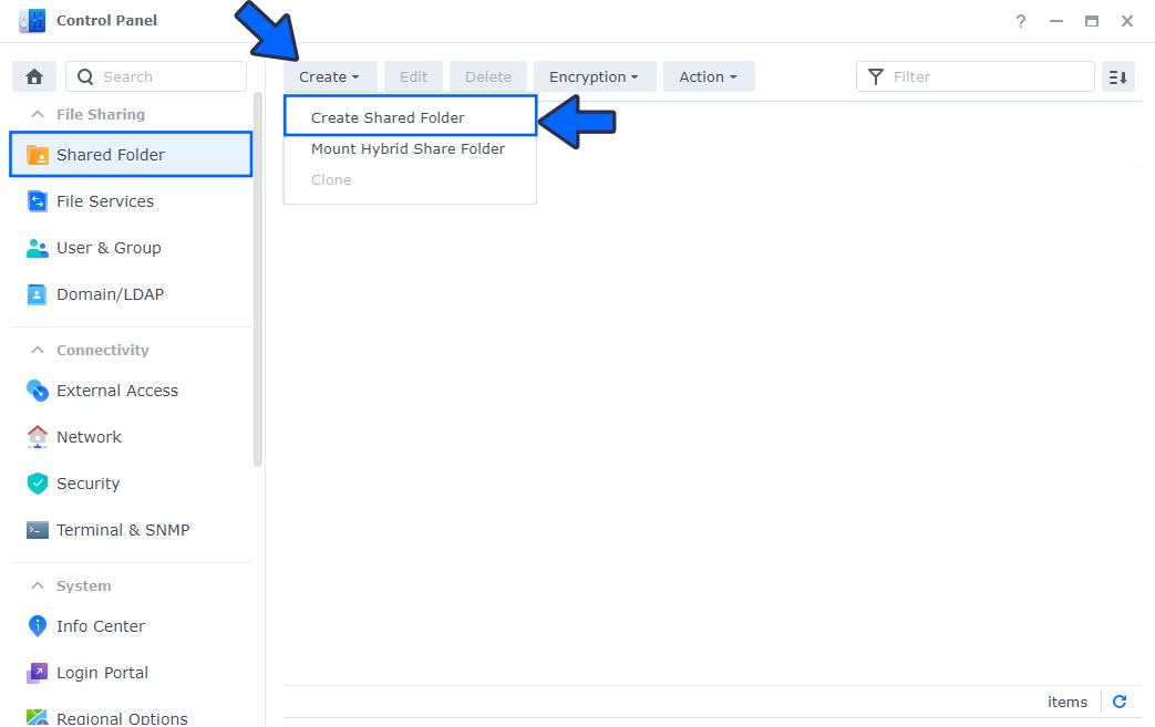 2 Create a Shared Folder on DSM 7