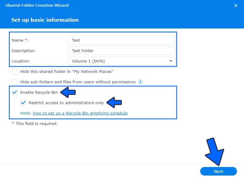 3 Create a Shared Folder on DSM 7